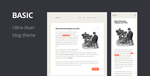 Basic Ultra Clean Responsive Wordpress Theme Wpion