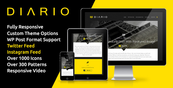 Diario Bold Minimal Responsive Wordpress Theme Wpion