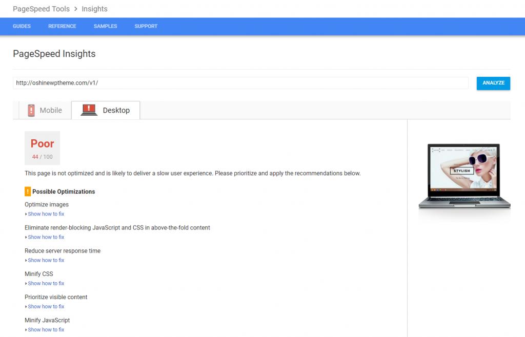 Oshine PageSpeed