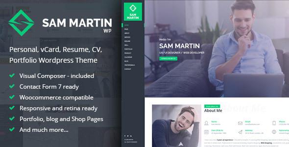 Sam Martin Personal Vcard Resume Wordpress Theme Wpion