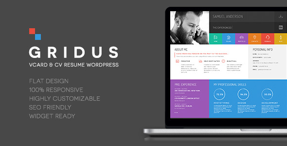 Gridus Vcard Cv Resume Wordpress Wpion
