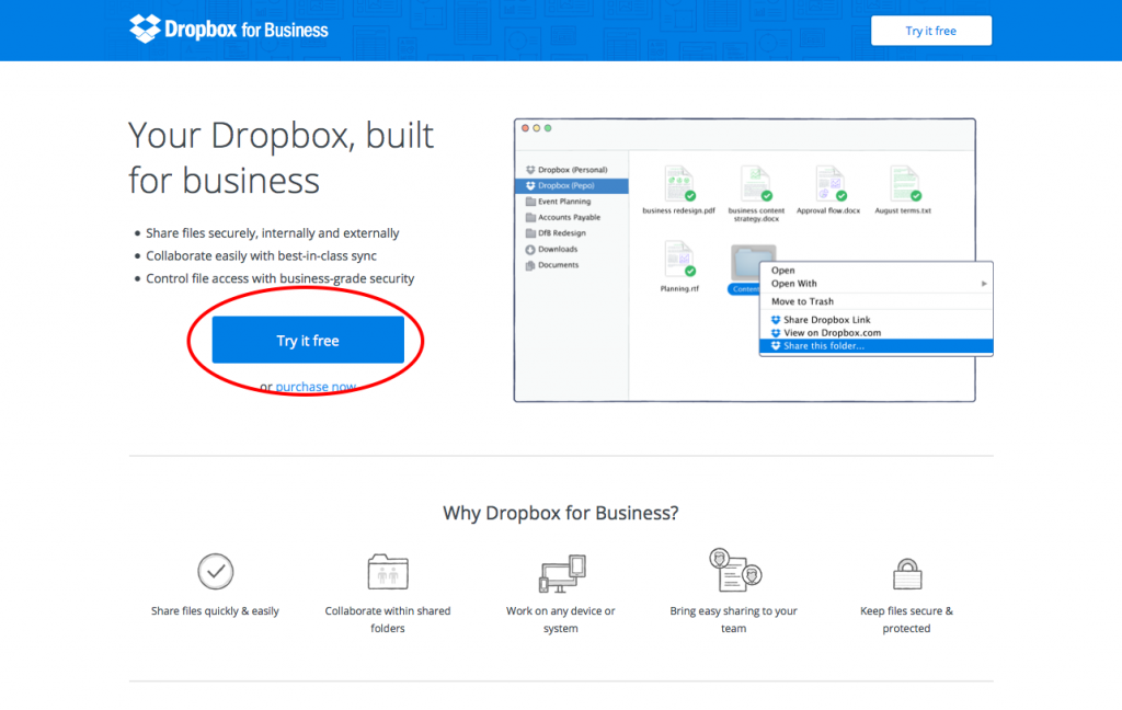 Call to Action - Dropbox