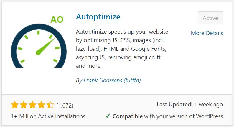Autoptimize plugin for speed