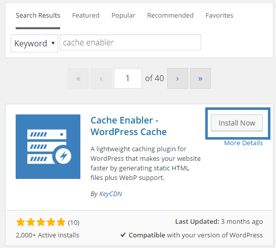 Cache Enabler Caching plugin