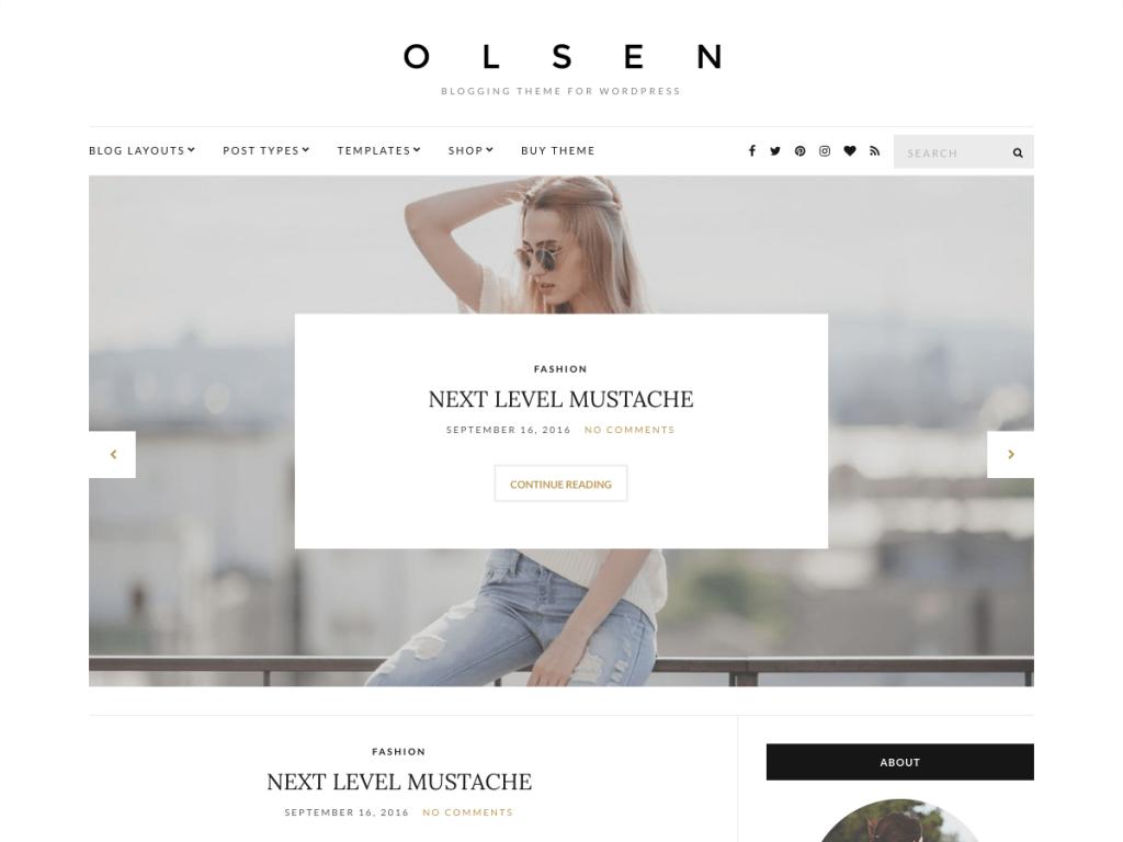 Olsen WordPress Theme for a speedy website